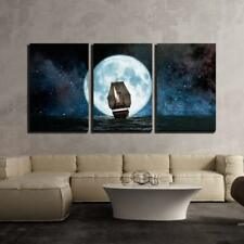 "Wall26 - Moon Boat and Reflection in the Water - CVS - 24""x36""x3 Panels"