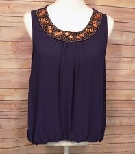 Women's Sleeveless Blouse High Low Tunic Beaded Neckline Lined Polyester Blue L