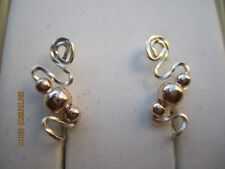 Pair Rose Gold Ear Vines Climbers Ear Pins With Twisted Silver Wire.... 006