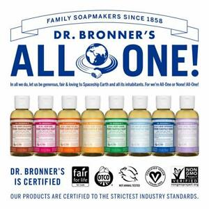 Dr Bronner's 18-In-1 Hemp Pure-Castile Liquid Soaps w/ Organic Oils Variety 2 oz