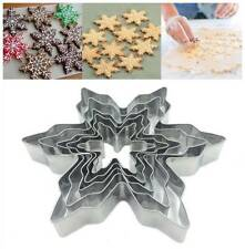 5Pcs Snowflake Cookies Cutter Mold Pastry Biscuit Cake Decor Mould Baking Tool