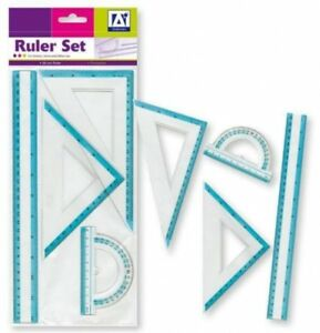 Anker International Stationary Ruler Kit -Set of Ruler, Protractor, 2 set square