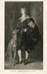"""GREYHOUND DOG ART ANTIQUE PRINT x 2 """"James Stuart"""" by Anthony van Dyck + study"""