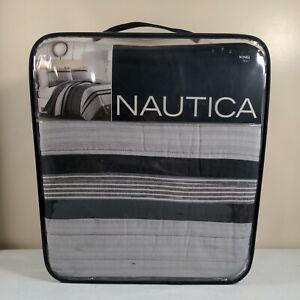 "NEW Nautica Vessey King Quilt in Grey 100% Cotton 104""x96"" Machine Washable"