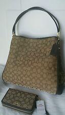 NWT Coach Signature Phoebe Shoulder Handbag F36184 Khaki Brown