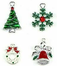 4 Enamel Christmas Charms Silver Pendants Findings Holiday Set Assorted Lot