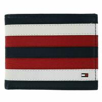 TOMMY HILFIGER MEN'S PASSCASE RED NAVY LEATHER RFID CREDIT CARD BILLFOLD WALLET