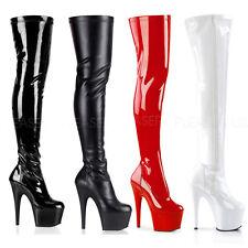 PLEASER - Adore-3000 Stiletto Heel Platform Thigh High Boot Inner Side Zipper