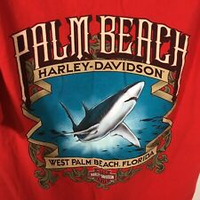 Harley Davidson West Palm Beach T-shirt Red Mens M Chest Pocket Shark