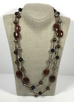 Long Vintage Necklace Flapper Style Glass Beads Brown Lustre Pretty Costume
