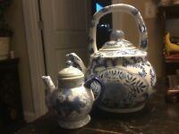 """Classic Blue & White-Teapot-7""""H-Arch Handle-Floral Design & A Miniature Teapot!"""