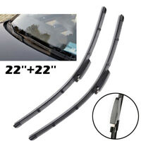 """2x Top Front Windshield Flat Wiper Blades 22""""+22"""" For Audi A4 B6 B7 S4 RS4 A6 C5"""
