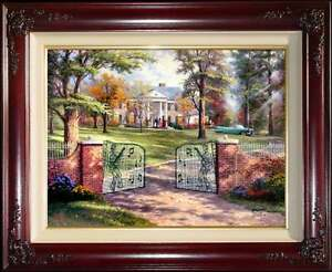 Thomas Kinkade DBL SIGNED Graceland 50th Anniversary 18x24 AP Elvis Presley