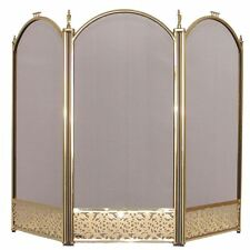 Ingleton fire screen 3 panel pliant laiton cheminée cover shield protector
