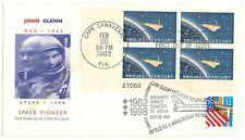 NASA envelope cover vtg '62 '98 FDC double cancel Mercury 6 STS-95 John Glenn