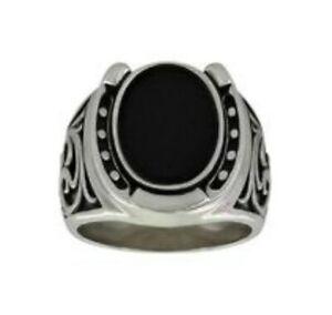 Men's Montana Silversmiths Horseshoe Onyx Sterling Silver Ring NEW Retail $150