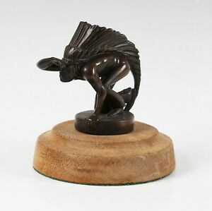 1920's Giulliaume Laplagne Sioux Indian Scot French bronze car mascot, signed