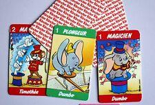 Jeu de cartes complet Kinder Disney Dumbo corbeau Madame Jumbo vintage magicien