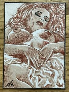 ACEO original Colored Pencil Sketch Card Art nudes woman female Erotic