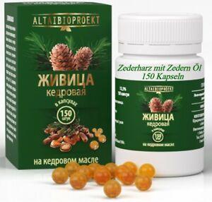 Zeder Nuss Öl (kaltgepresst) mit Zedernharz (Живица12,5%) 150 Kaps jede 200 mg