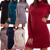 Vestito donna miniabito dolcevita lupetto collo alto maglione nuovo R3258