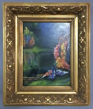 Antique Post Impressionist Oil On Board Painting In Gold Gilt Frame
