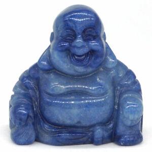 1.4 Inch Natural Blue Quartz Carved Maitreya Happy Laughing Buddha Figurine