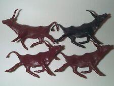 Marx 1960'S Western Playset Long Horn Cattle Steers Heard Reversed Posed Mint