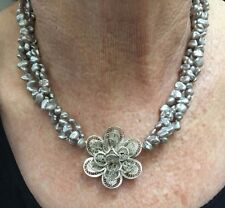 vecchio stile SALDI argento sterling Fiore & grigio perla d'acqua dolce 41.9cm