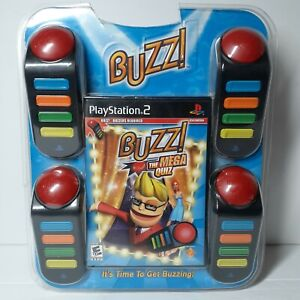 Playstation 2 PS2 Buzz The Mega Quiz Game CIB w/ Buzzer Controllers