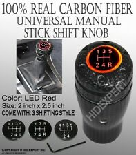 JDM Carbon Fiber Shift Knob w/ Red LED Sport Racing Manual Threaded Shifter B54