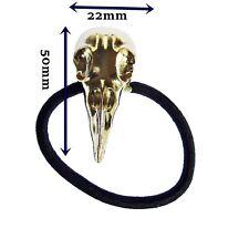 Crâne Cheveux Pompon Crow Raven cheveux bande élastique Goth Biker Rock Chick Gold J4