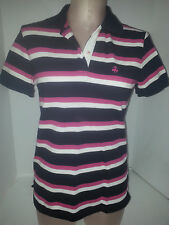 BROOKS BROTHERS Polo Rugby Shirt Size Small Womens Blue Pink White Stripe