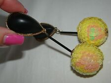 """Vintage Disco Sequin Ball Yellow Long Chandelier Clip-on Earrings 4 1/4"""""""