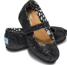 Toms shoes BNIB NEW Authentic Tiny Mary Jane Black Glitter Toddler Size 7