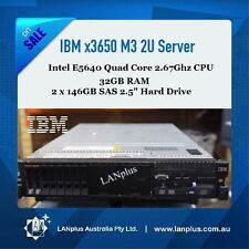 IBM x3650 M3 E5640 2.67Ghz CPU 32GB RAM 2x 146GB SAS HDs 2U Rack Mount Server