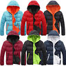 Men Winter Hooded Warm Padded Coat Zip Quilted Jacket THICK Outwear Overcoat LOT
