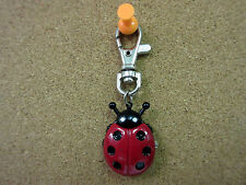 New Red Ladybug Clip Quartz Watch 6 Black Dots White Dial Ladybugs