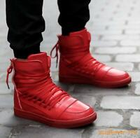 New Mens Casual Lace Up Sneakers Athletic Sport Board Shoes High Tops Boots 2019