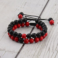 2pcs/set 8MM Red Black Natural Stone Couple Braided Rope Bracelets Jewelry Gift