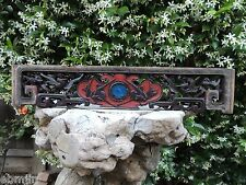 212. Antique Carved  Wood Panel  w/ Flower,Deer and Swallow