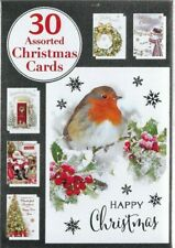 30 CHRISTMAS CARDS BUMPER BOX 6 DESIGNS 5 OF EACH WITH VERSE AND ENVERLOPES