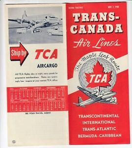 1950 TCA Trans-Canada Air Lines Timetable