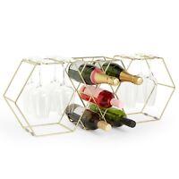 VonShef 5 Bottle Wine Rack 8 Glass Holder Stainless Steel
