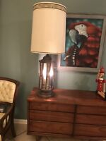 Mid Century Modern Wood And Cork Lamp