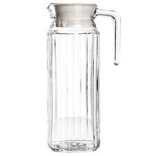 1.1L Glass Fridge Picnic Water Squash Milk Drink Jug Pitcher Container With Lid