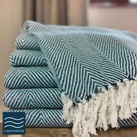 Luxury ECO Friendly Cotton Herringbone Throw Teal Blue Green Bed Sofa Blanket