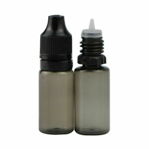 10ml Black Plastic Bottles With Pipettes + Caps
