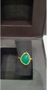 MONICA VINADER Gold Siren Nugget Stacking Ring Green Onyx SIZE I - BNIB ❤🌸🎁