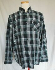 Oakley Mens Button Front Plaid Shirt XL Black Gray Long Sleeves